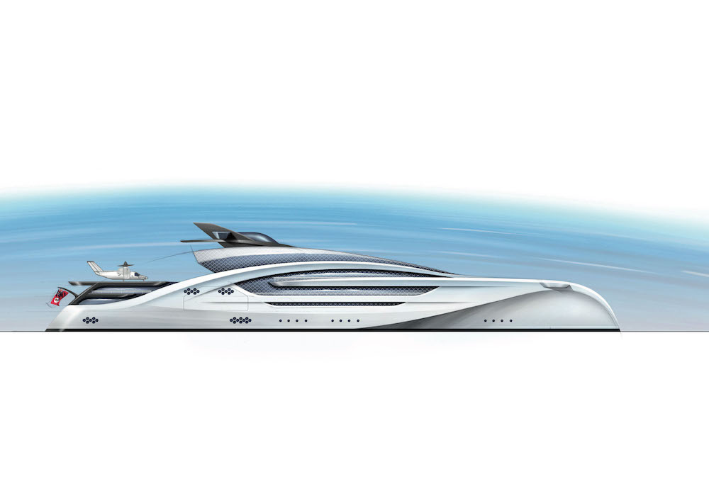A 100 metre trimaran concept by Winch Design