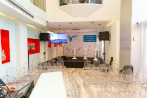 la sede di Radio Montecarlo dove si è tenuta la Conferenza Stampa
