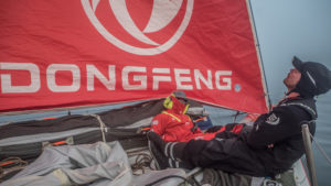Leg 8 from Itajai to Newport, day 17 on board Dongfeng. 08 May, 2018. Kevin and Marie sleeping at the bow, waiting for the finish.