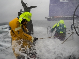 Leg 9, from Newport to Cardiff, day 2 on board Team AkzoNobel. Wet and wild morninig. 24 May, 2018