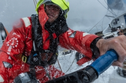 Leg 9, from Newport to Cardiff, day 5 on board Vestas 11th Hour. 24 May, 2018. Nick Dana on the pedals.
