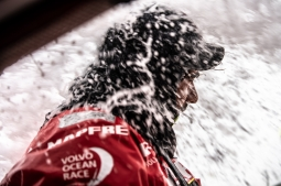 Leg 9, from Newport to Cardiff, day 05 on board MAPFRE, Guillermo Altadill smashed by a wave. 24 May, 2018.