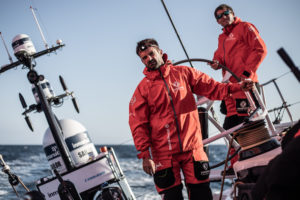 Leg 10, from Cardiff to Gothenburg, day 02 on board Dongfeng. Pascal Bidegorry and Charles Caudrelier. 11 June, 2018.