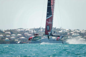 05/06/17 Emirates Team New Zealand sailing on Bermuda's Great Sound in the Louis Vuitton America's Cup Challenger Playoffs Semi-Finals Emirates Team New Zealand (NZL) vs. Land Rover BAR (GBR) Race 2 Copyright: Richard Hodder / Emirates Team New Zealand
