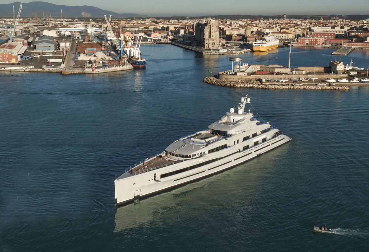 Benetti launches the 107 meter FB277, the first of three giga yachts to be unveiled in the next few months